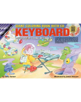Progressive Electronic Keyboard Method for Young Beginners - Book 1 (Giant Coloring Book) - How to Play Keyboard for Kids