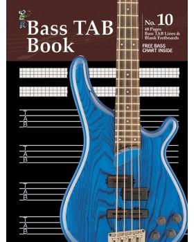 Progressive Manuscript Book 10 - Bass TAB Book - Music Staff Paper