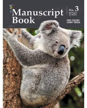 Progressive Manuscript Book 3 - Stapled, 48 Pages, 12 Stave - Music Staff Paper