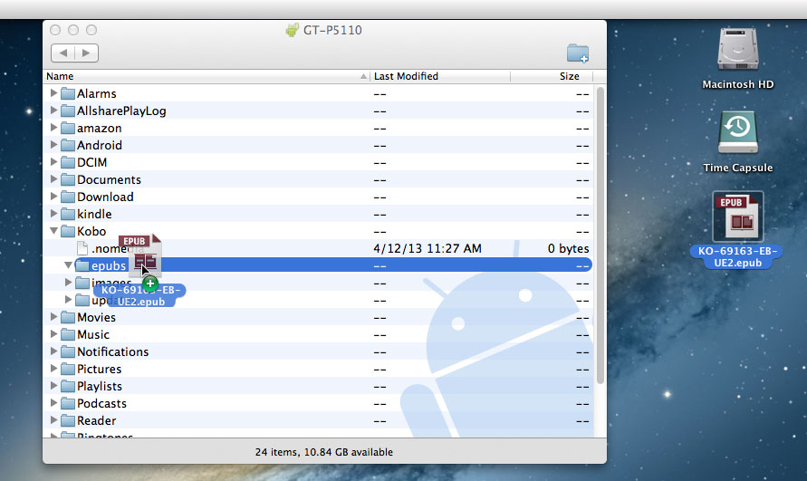 Mac Android File Transfer and .epub file on Desktop