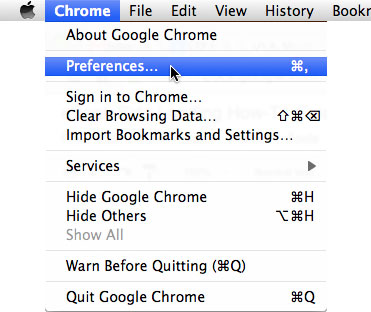 Google Chrome: Preferences Menu
