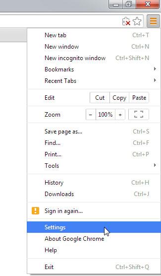 Google Chrome: Preferences Menu
