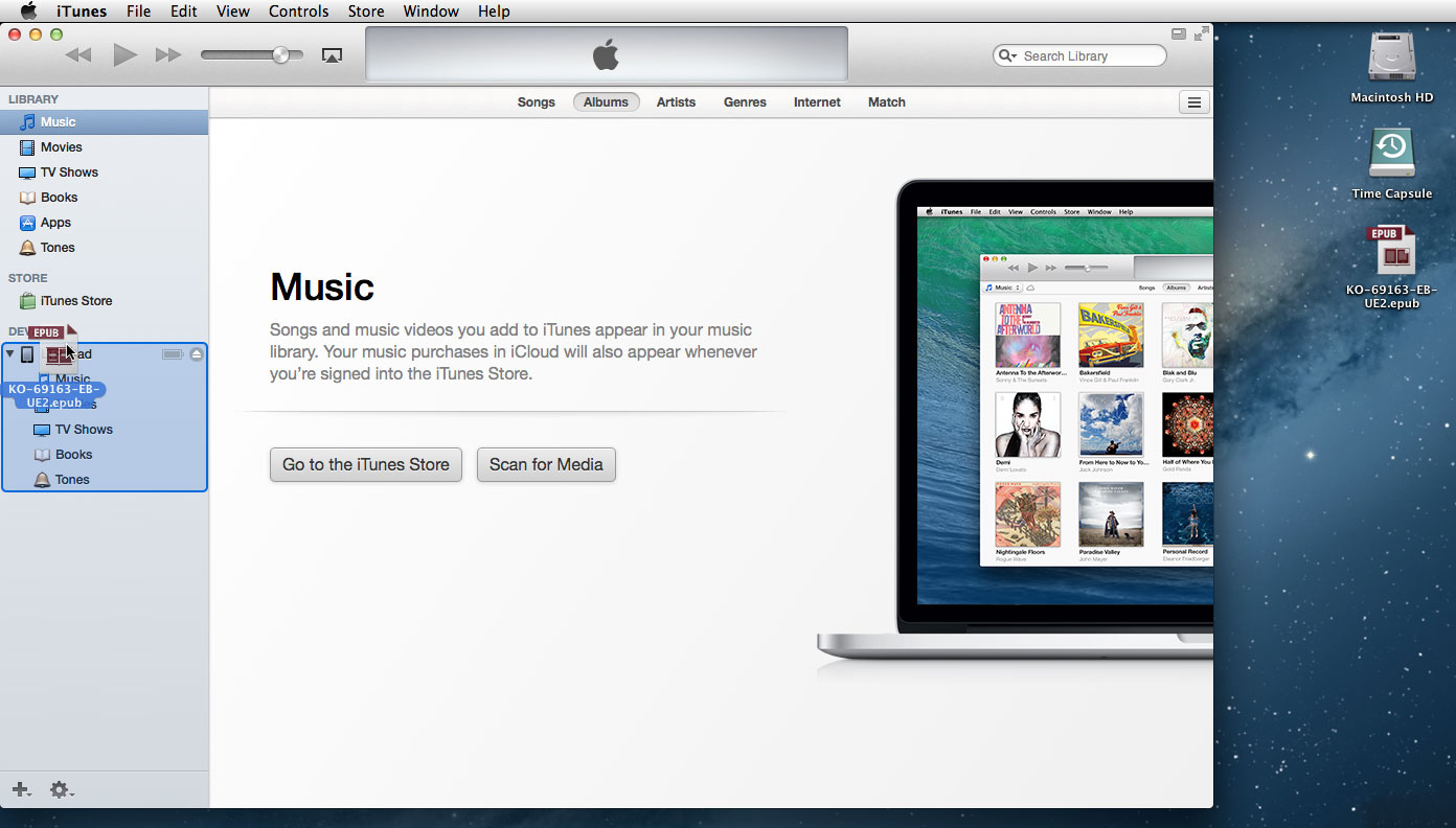 Mac iTunes and .epub file on Desktop: Drag and Drop
